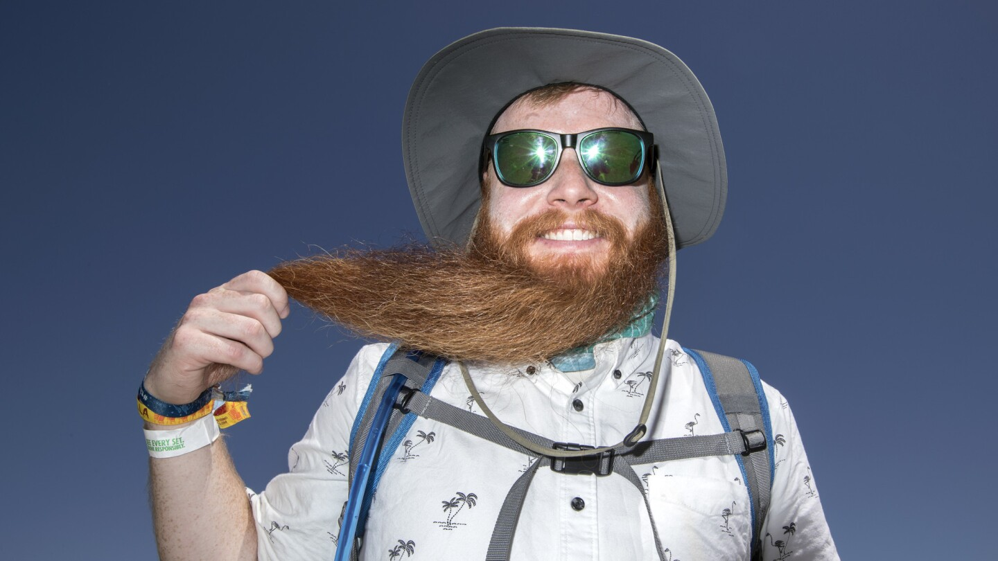 Denver resident Sean Reilly, 28, shows off his copious beard at the Coachella Music and Arts Festival in Indio, Calif., on April 15.