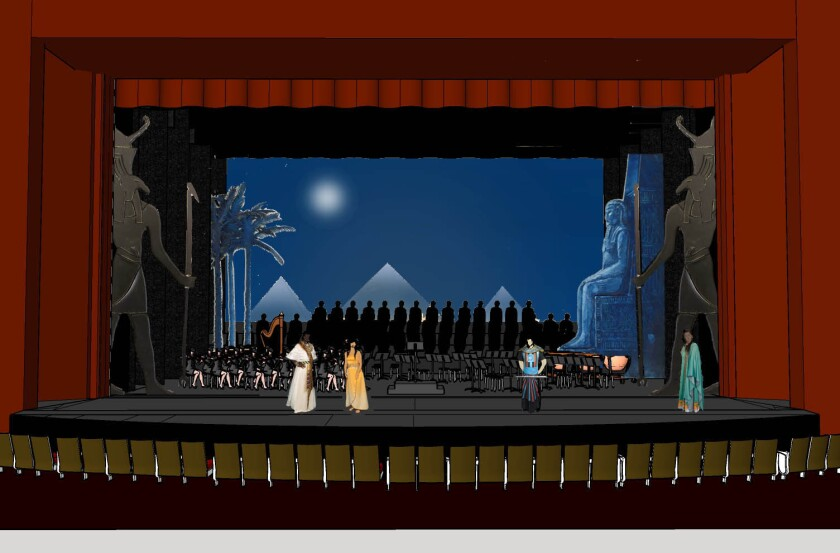 """An artist's rendering of the stage design for San Diego Opera's """"Aida,"""" which will have orchestra members and the chorus seated onstage. The production opens Oct. 19 at the San Diego Civic Theatre."""