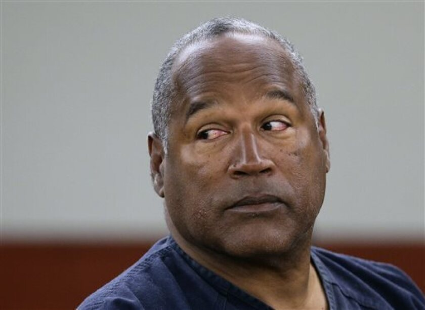 O.J. Simpson during a hearing in Clark County District Court in Las Vegas last year. His attorneys have appealed to the Nevada Supreme Court to release him from prison, where he is serving a sentence for his role in a 2007 hotel room armed robbery.