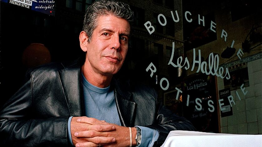 """Anthony Bourdain, seen in 2001, was the owner and chef of Brasserie Les Halles in New York City when he rose to fame — some would say infamy — with his best-selling book """"Kitchen Confidential."""" Bourdain was found dead Friday from an apparent suicide in France."""
