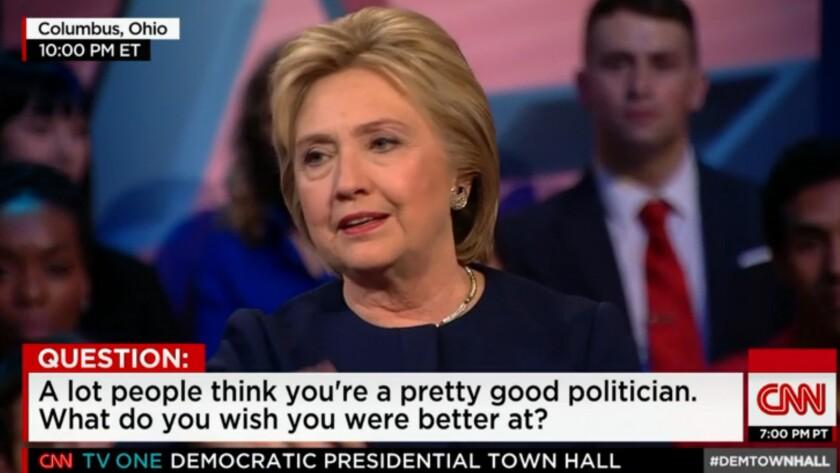 Hillary Clinton, during Sunday night's Ohio town hall on CNN.