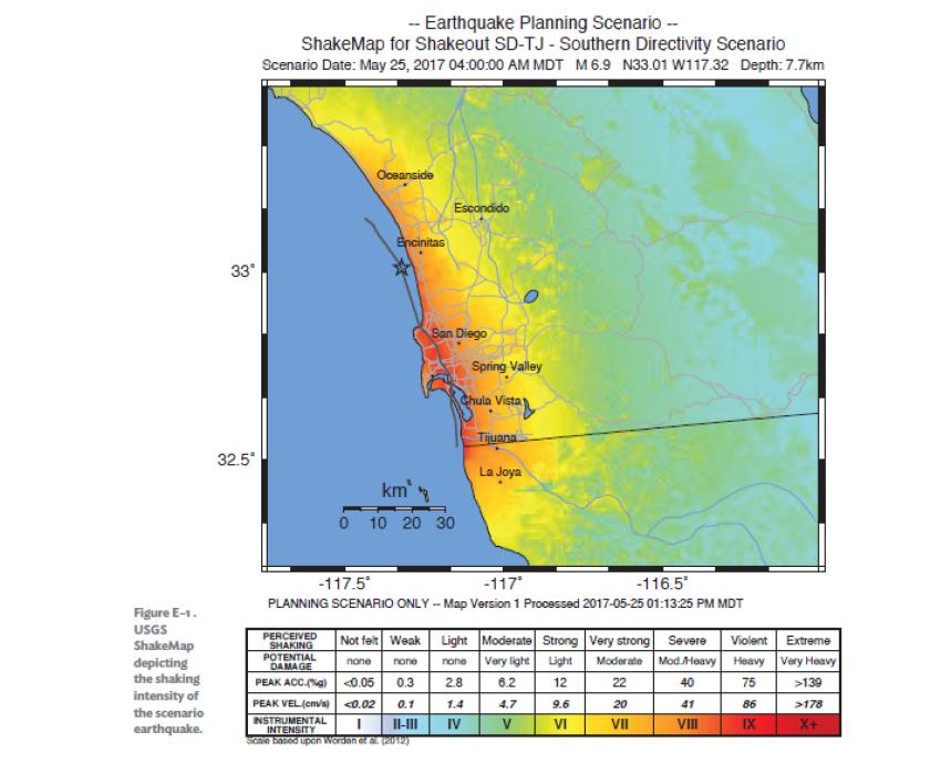 Rose Canyon fault scenario
