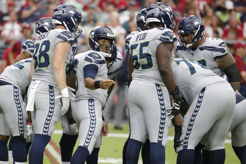 Seattle Seahawks quarterback Russell Wilson (3) during a game against the Arizona Cardinals on Sunday in Glendale, Ariz.