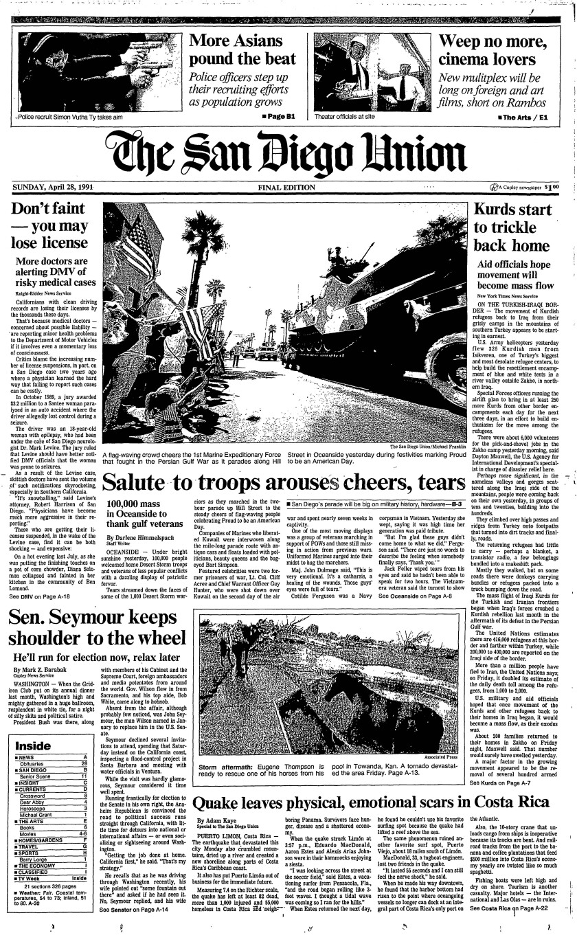 'Salute to troops' front page of The San Diego Union, April 28, 1991.