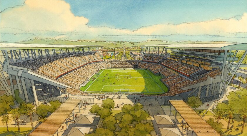Rendering of SDSU Mission Valley stadium in soccer configuration.