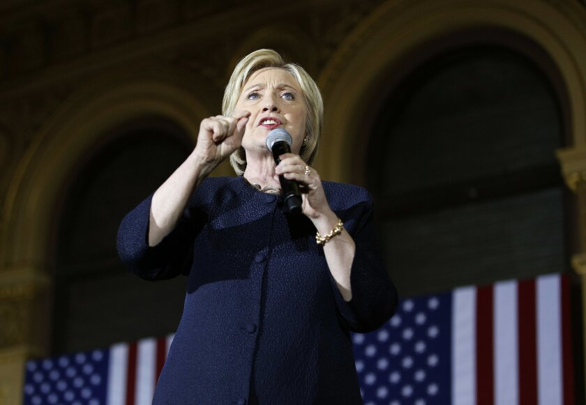 "FILE - In this May 26, 2016 file photo, Democratic presidential candidate Hillary Clinton speaks in San Francisco. Donald Trump's best liaison to Republicans is turning out to be Hillary Clinton. Trump overcame a ""Never Trump"" campaign aimed at stopping him from clinching the Republican nomination."