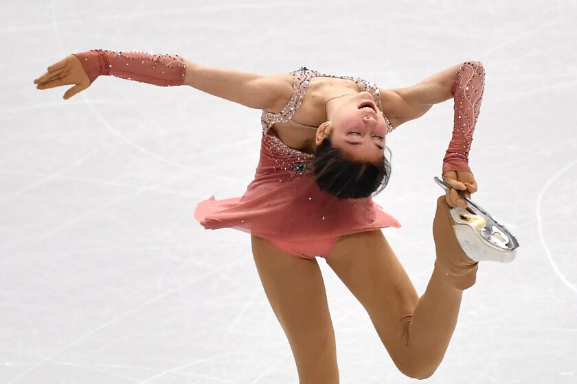 Alysa Liu competes in the junior ladies short program at the ISU Grand Prix of Figure Skating on Dec. 5 in Turin, Italy.