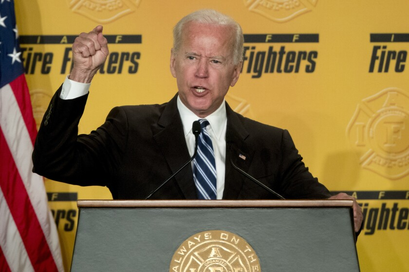 In this March 12, 2019 photo, former Vice President Joe Biden speaks to the International Association of Firefighters at the Hyatt Regency on Capitol Hill in Washington.