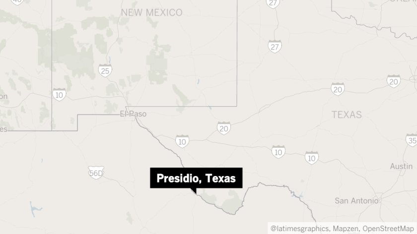 Map shows approximate location of Presidio, Texas.