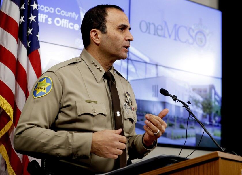 FILE - In this Feb. 14, 2019, file photo, is Maricopa County Sheriff Paul Penzone at a news conference in Phoenix. Civil rights lawyers are seeking a civil contempt of court hearing against Penzone for a backlog of 2,000 internal affairs investigations each taking an average of 500 days to complete. Penzone is the second Maricopa County sheriff to be accused of noncompliance in a racial profiling case in which a judge ordered an overhaul to the agency's internal affairs operations. (AP Photo/Matt York, File)