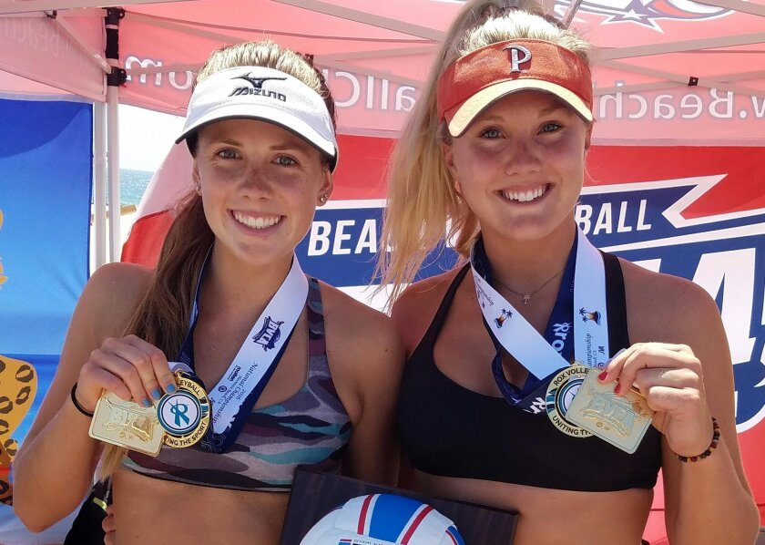 Megan Muret and Alexis Filippone with their gold medals for winning the BVCA Championhship in Hermosa Beach on July 13 against over 100 teams from all over the country.