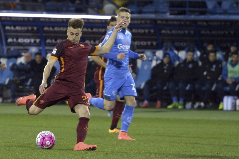Roma's Stephan El Shaarawy, left, scores during a Serie A soccer match between Roma and Empoli, in Empoli, Italy, Saturday, Feb. 27, 2016. (Claudio Giovannini/ANSA via AP)