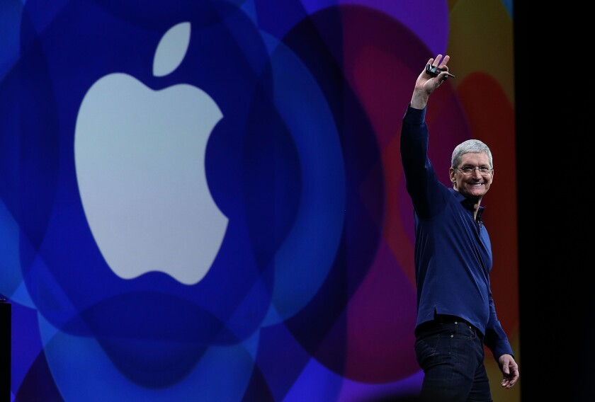 Apple CEO Tim Cook. The company's new generation of iPhones will be the first with 5G data speed capability.
