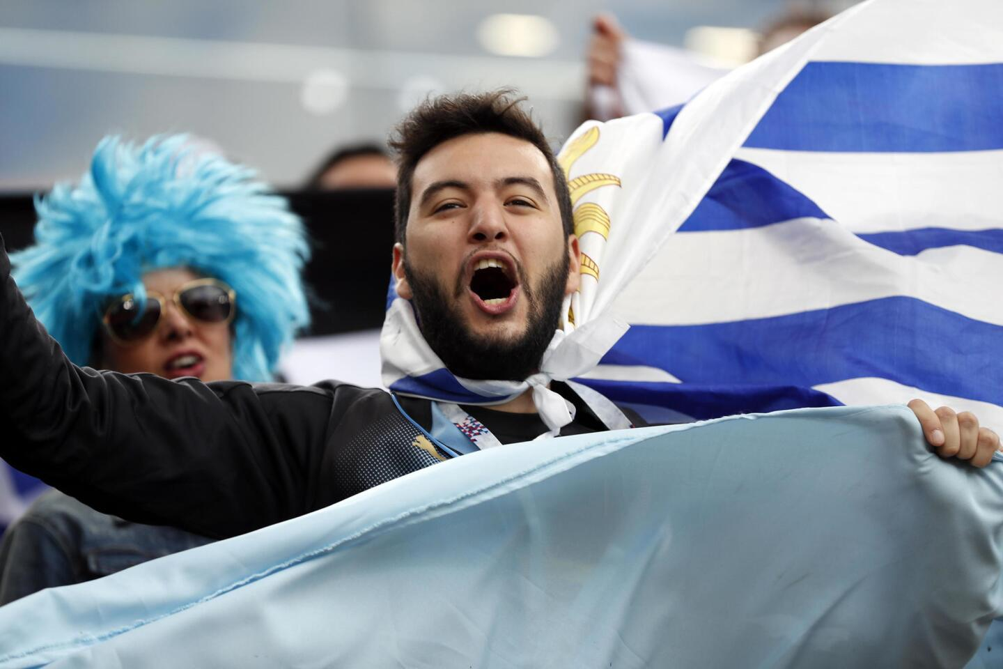 Ekaterinburg (Russian Federation), 15/06/2018.- Supporters of Uruguay prior the FIFA World Cup 2018 group A preliminary round soccer match between Egypt and Uruguay in Ekaterinburg, Russia, 15 June 2018. (RESTRICTIONS APPLY: Editorial Use Only, not used in association with any commercial entity - Images must not be used in any form of alert service or push service of any kind including via mobile alert services, downloads to mobile devices or MMS messaging - Images must appear as still images and must not emulate match action video footage - No alteration is made to, and no text or image is superimposed over, any published image which: (a) intentionally obscures or removes a sponsor identification image; or (b) adds or overlays the commercial identification of any third party which is not officially associated with the FIFA World Cup) (Egipto, Mundial de Fútbol, Rusia) EFE/EPA/FRANCIS R. MALASIG EDITORIAL USE ONLY ** Usable by HOY and SD Only **