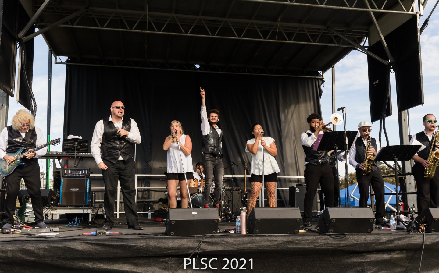 Funk band Full Strength gets rolling onstage at Point Loma Park on Oct. 2 in a show presented by Point Loma Summer Concerts.