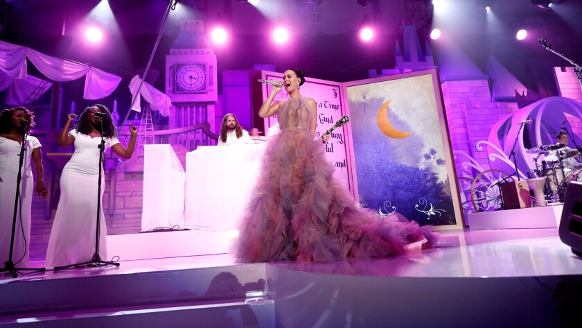 """Singer Katy Perry performs at Children's Hospital Los Angeles' """"Once Upon a Time"""" gala."""