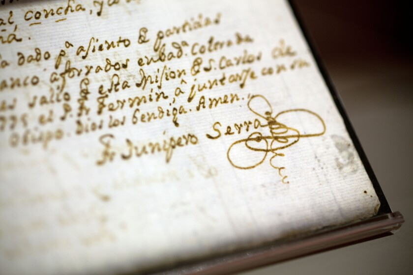 Writings by Father Junipero Serra, a friar whom Pope Francis will elevate to sainthood during his visit to the U.S. in September.