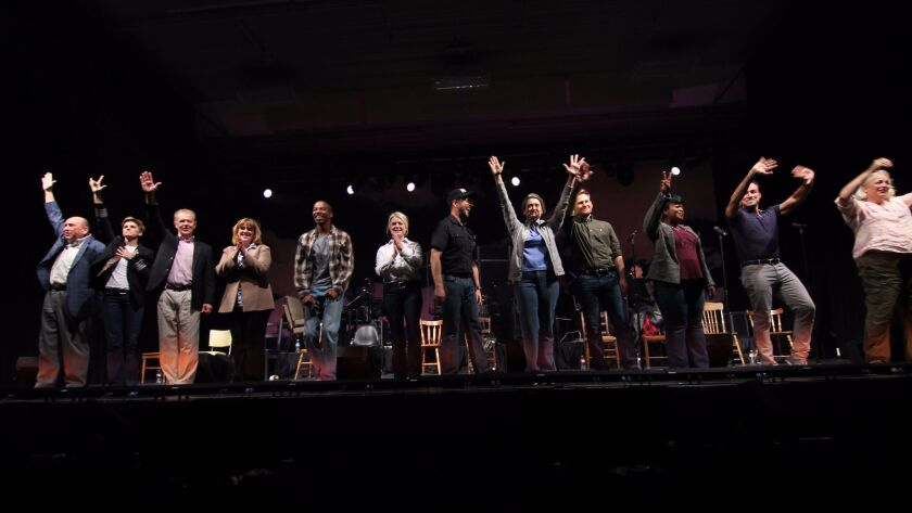 """The cast of the La Jolla Playhouse-bred musical """"Come From Away"""" takes its bows after a recent concert performance in Newfoundland."""