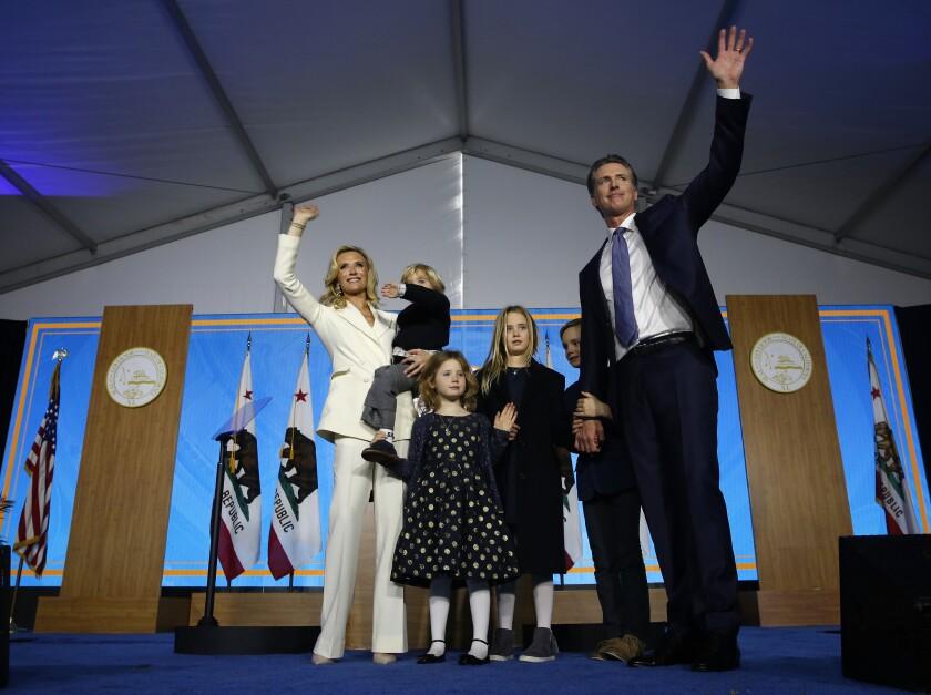 California Gov. Gavin Newsom, his wife, First Partner Jennifer Siebel Newsom, and their children in 2019.