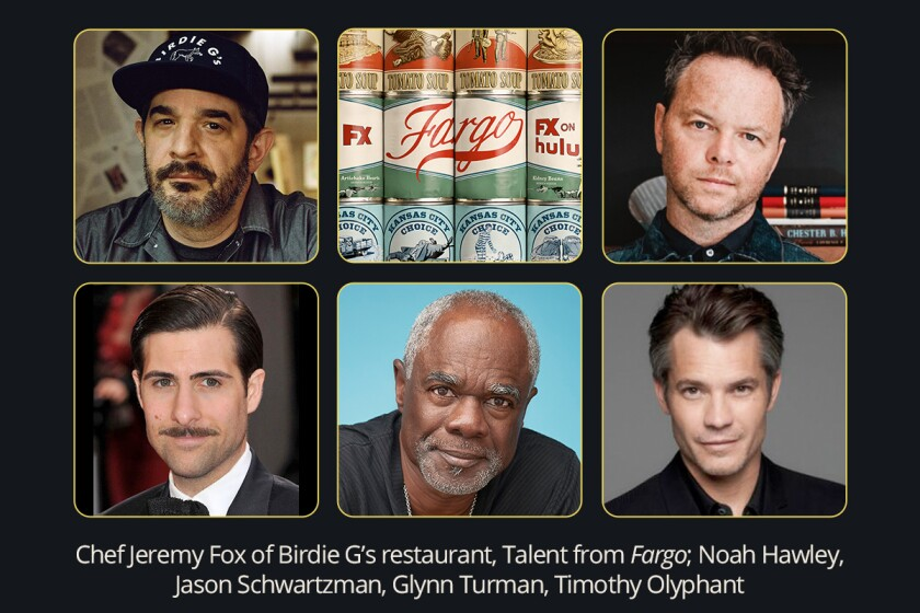 Photo collage of chef Jeremy Fox, 'Fargo' creator Noah Hawley, actors Jason Schwartzman, Glynn Turman, Timothy Olyphant.