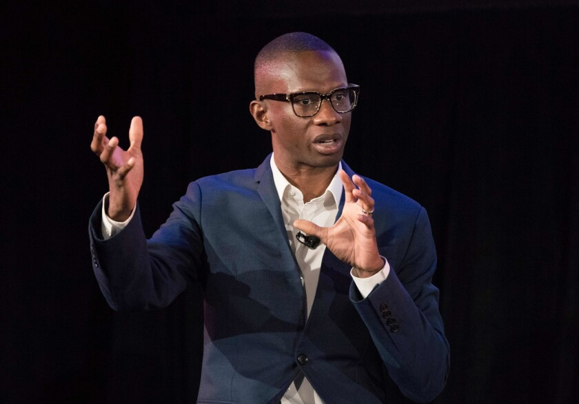 Troy Carter, Spotify's global head of creator services, speaks on April 24, 2018, in New York.