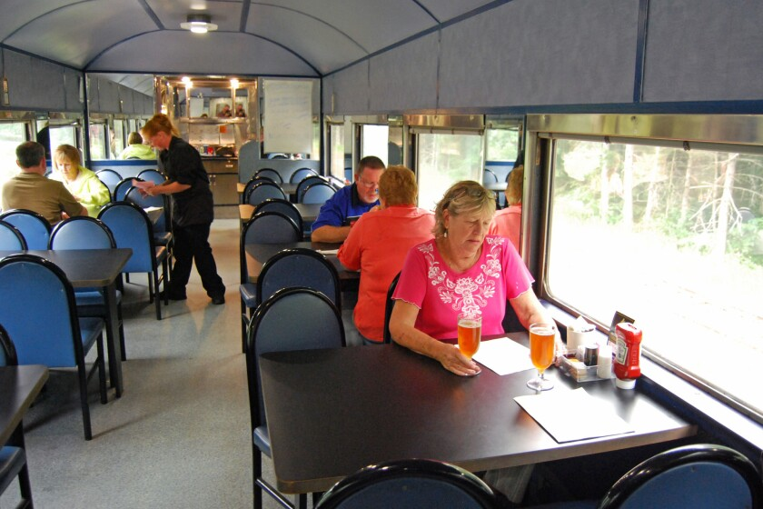 Luncheon in the dining car of the Agawa Train.
