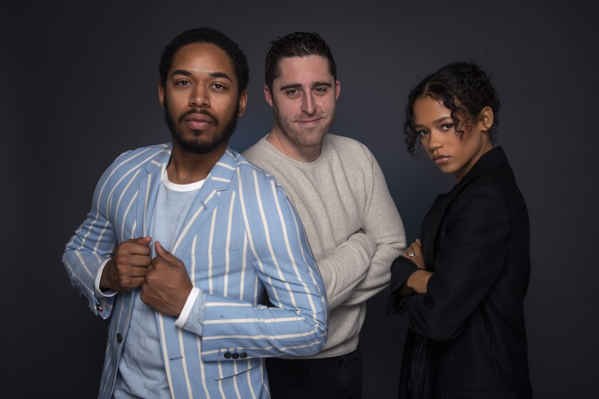 "Actor Kelvin Harrison Jr., director Trey Edward Shults and actress Taylor Russell from the film ""Waves."""