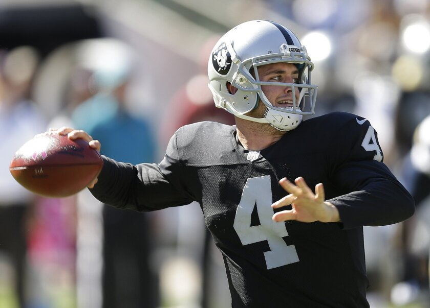 Oakland Raiders quarterback Derek Carr (4) passes against the San Diego Chargers during the second quarter of an NFL football game in Oakland, Calif., Sunday, Oct. 12, 2014. (AP Photo/Ben Margot)