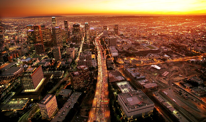 The 110 Freeway slices through downtown Los Angeles.