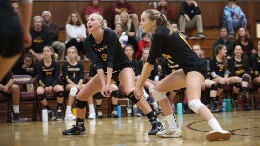 Charlie Ekstrom (right, shown in an earlier match) and Sierra Caffo (left) have helped Point Loma reach the state finals.