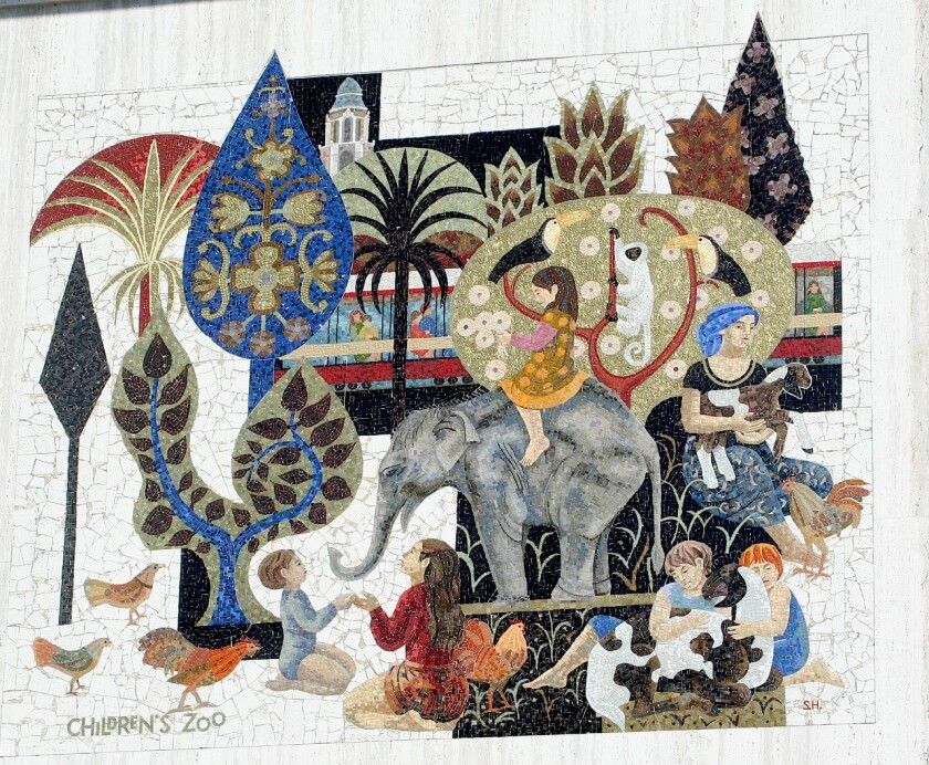 One of two large-scale mosaics on the Chase Bank building in Pacific Beach portrays the San Diego Children's Zoo.