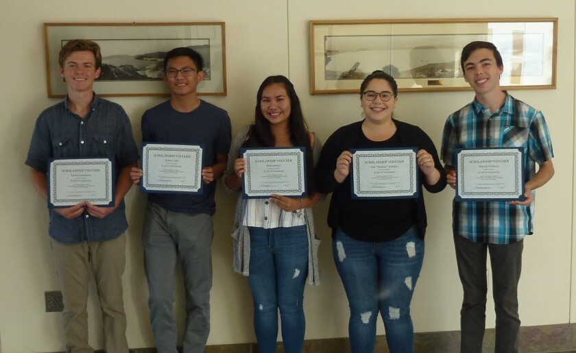 "Vista Irrigation District gave $1,000 each to six high school seniors in its 2019 scholarship contest. From left: Travis Letourneau, Joshua Cielo, Rubi Gomez, Ana ""Daniela"" Gallegos and Marcus Calderon. Not pictured: Josiah Hicks."