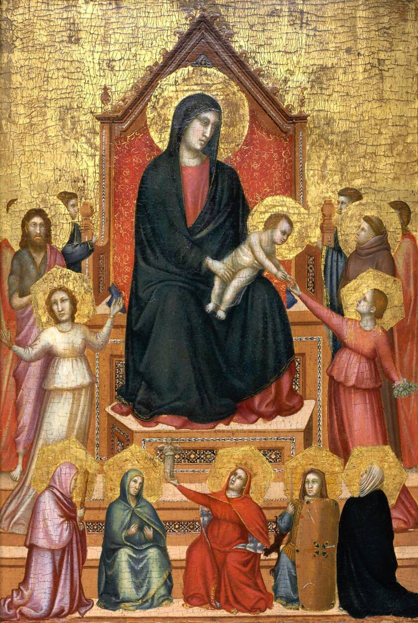 """""""The Virgin and Child Enthroned With Saints and Allegorical Figures,"""" by Giotto di Bondone."""