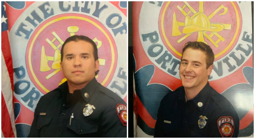 Porterville Fire Capt. Ray Figueroa, left, and firefighter Patrick Jones