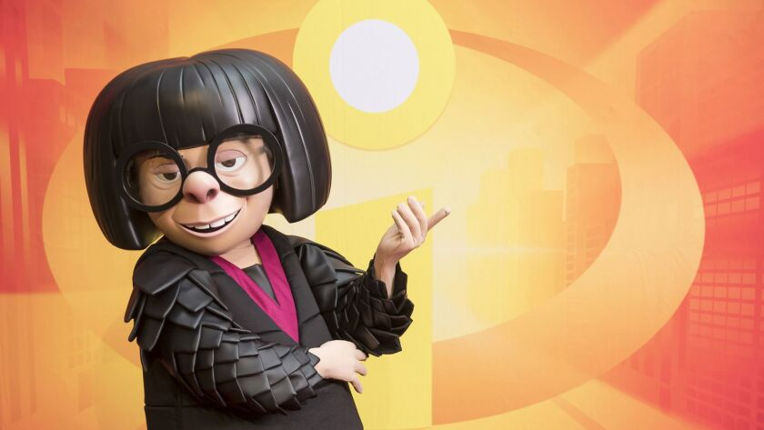 """Edna Mode, from """"The Incredibles,"""" will be one of the walkaround characters at Pixar Pier when it opens June 23 at Disney California Adventure park."""