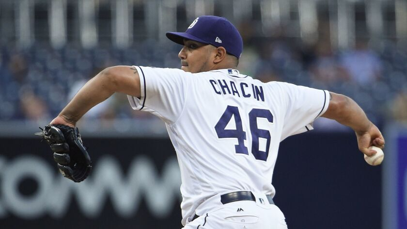 Jhoulys Chacin of the San Diego Padres pitches during the first inning against the Washington Nationals at Petco Park on August 17, 2017, in San Diego, California.