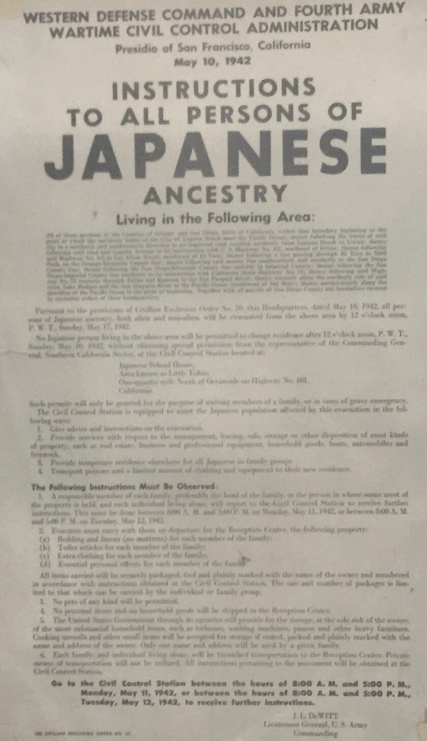 Executive Order 9066 — signed by President Franklin Delano Roosevelt on Feb. 19, 1942 — forced the evacuation of more than 120,000 Japanese-Americans from their homes to internment camps.