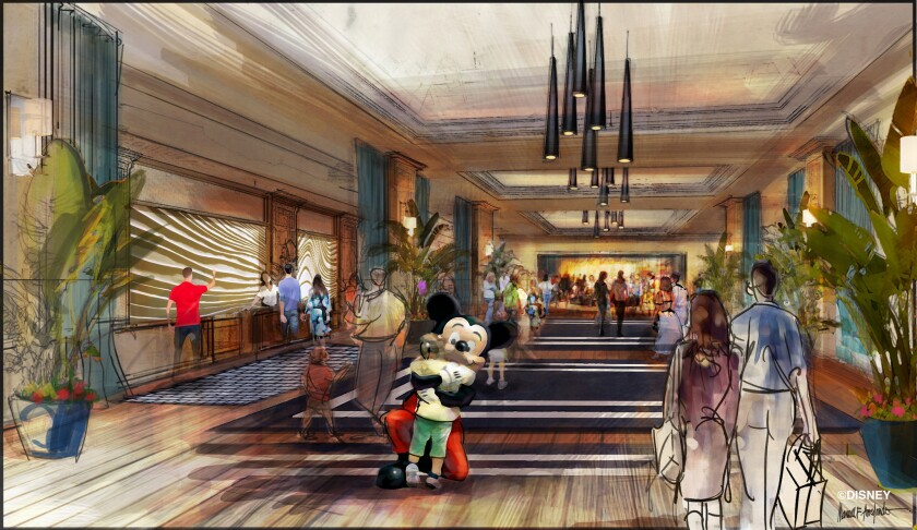 Disney has submitted an application to the city of Anaheim to build a 700-room hotel at Disneyland. Above is a rendering of the lobby.