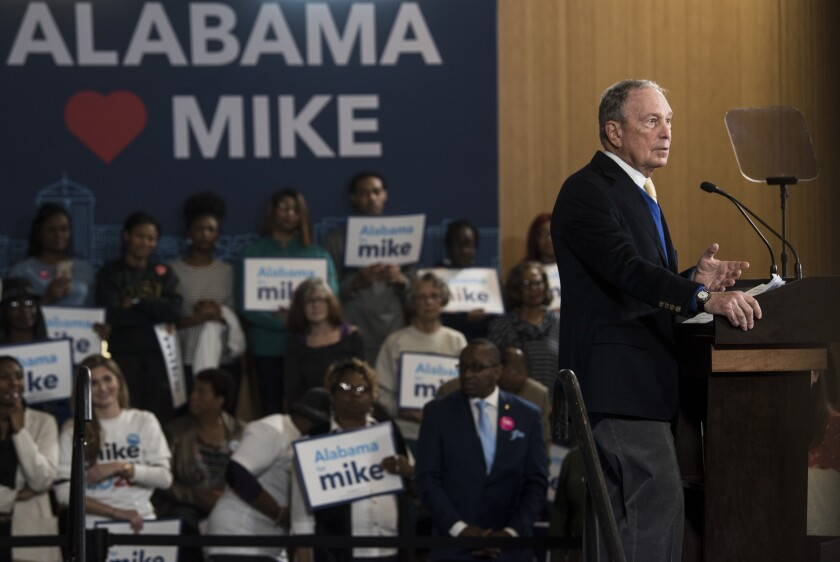 Democratic presidential candidate Michael R. Bloomberg campaigns in Montgomery, Ala., this month.