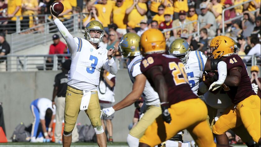 UCLA quarterback Wilton Speight (3) throws a pass against Arizona State during the first half of an