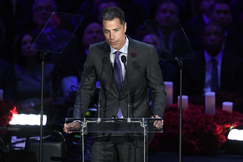 LOS ANGELES, CALIFORNIA - FEBRUARY 24: Los Angeles Lakers General Manager Rob Pelinka speaks during The Celebration of Life for Kobe & Gianna Bryant at Staples Center on February 24, 2020 in Los Angeles, California. (Photo by Kevork Djansezian/Getty Images)