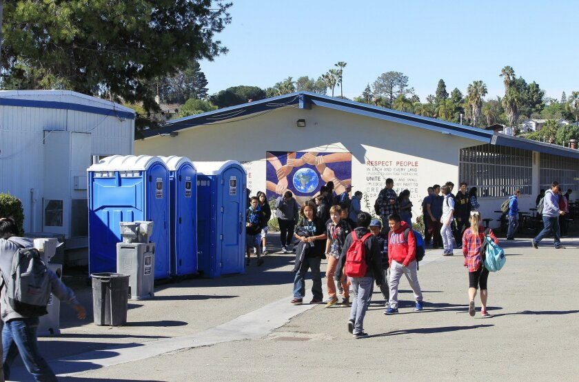 SAN DIEGO, CA February 17, 2016 : | Port-o-potties in central courtyard area at VIDA (Vista Innovation and Design Academy) on Wednesday in Vista, California. The school is still using port-o-potties while new facilities are being built. | (Eduardo Contreras / San Diego Union-Tribune)