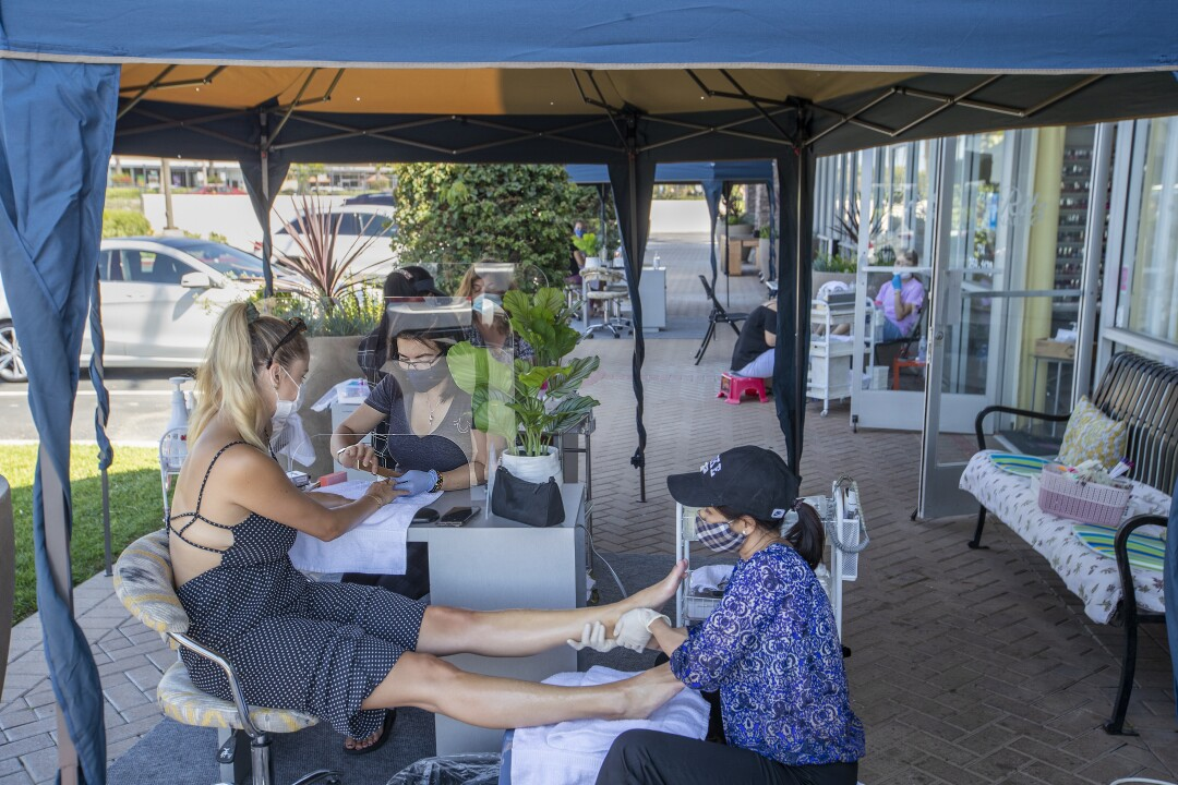 Outdoor manicures and pedicures at Ritz Nails in Tustin