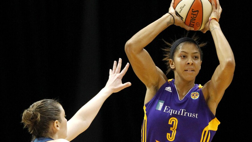 Forward Candace Parker, shown during Game 1, led the Sparks to a win Sunday afternoon over Minnesota.