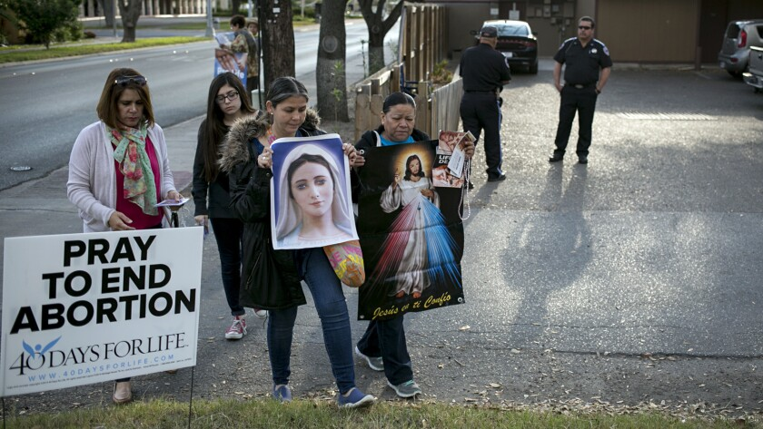 Antiabortion protesters demonstrate last month outside Whole Woman's Health of McAllen, Texas.