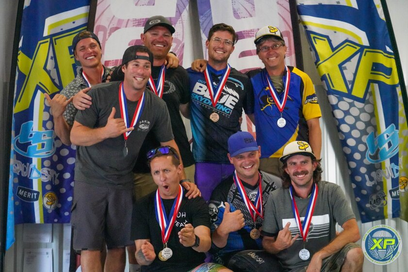 San Diego skydiver Bryan Buffaloe, back row third from left, poses with other medalists last week at the U.S. Parachute Association's 2019 National Skydiving Championships, where he won the national title in advanced canopy piloting.