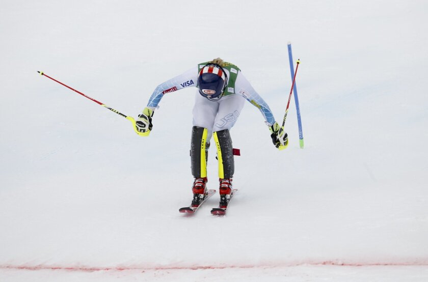 Mikaela Shiffrin, of the United States, crosses the finish line to win an alpine ski, women's World Cup slalom, in Crans Montana, Switzerland, Monday, Feb. 15, 2016. (AP Photo/Alessandro Trovati)