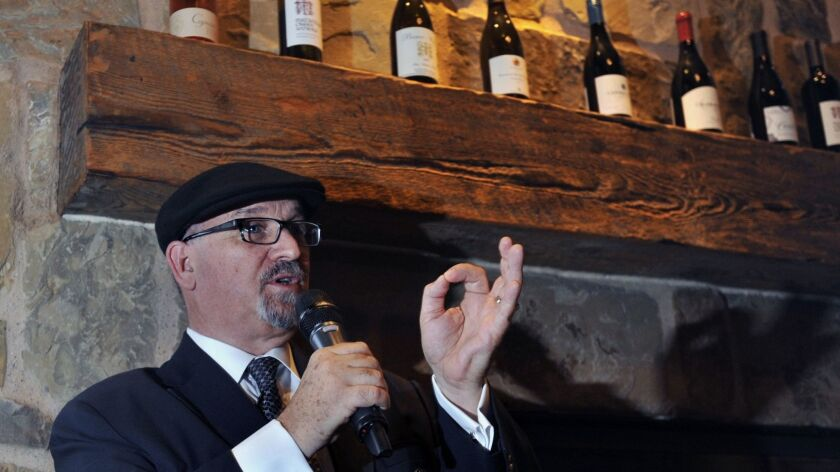 Veteran restaurateur and master sommelier Michael Jordan speaks May 24 at a special wine dinner at Taps Fish House in Irvine.