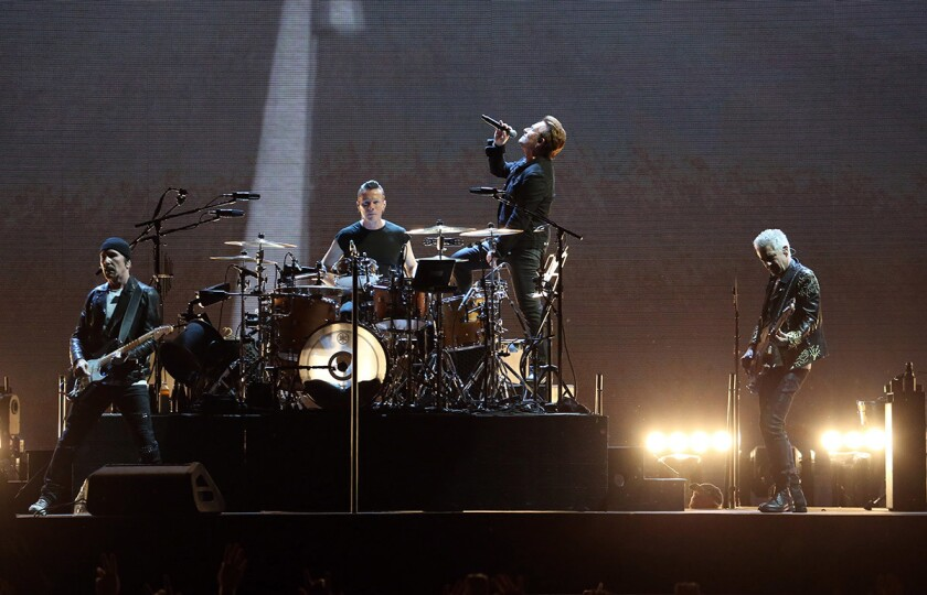 """Bono and U2 perform on Saturday, June 3, 2017 at Soldier Field in Chicago, Ill. The band will bring its """"The Joshua Tree Tour 2017"""" to San Diego. (Nuccio DiNuzzo/Chicago Tribune/TNS)"""