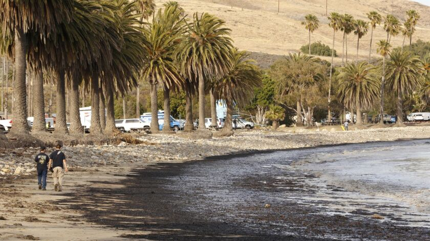 A ruptured pipeline spilled barrels of crude oil in 2015 on Refugio State Beach.